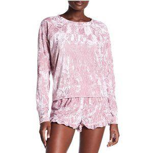 Blush Velvet Ruffle Sleep Shorts